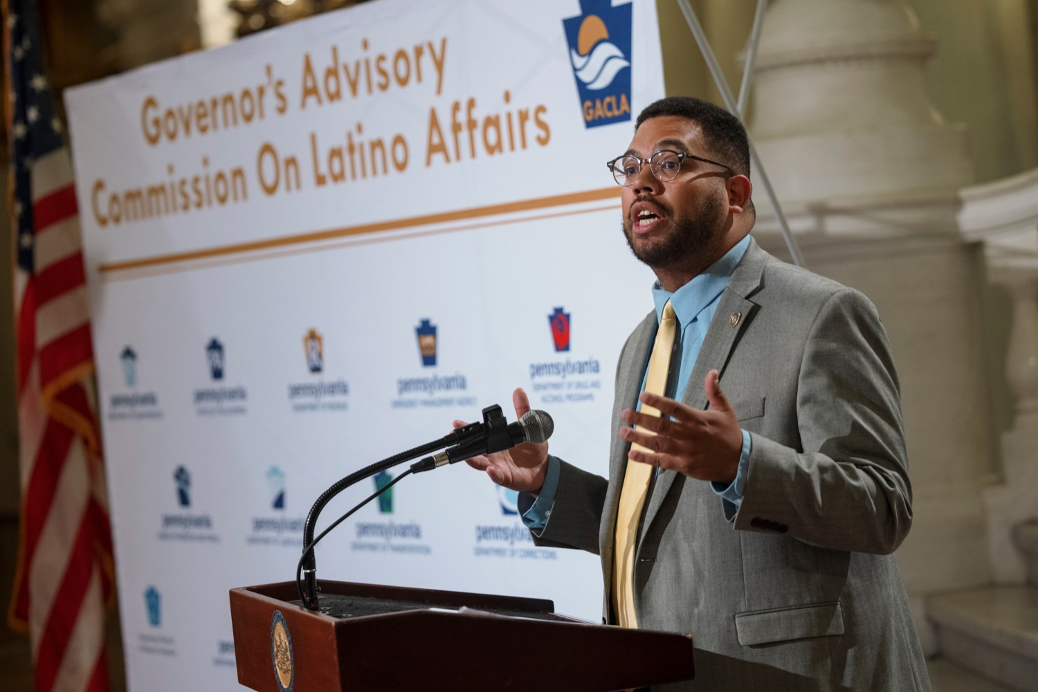 """<a href=""""https://filesource.wostreaming.net/commonwealthofpa/photo/19130_GACLA_HispanicHeritage_NK_006.jpg"""" target=""""_blank"""">⇣Download Photo<br></a>State Rep. Manny Guzman speaks during a press conference to kick-off and recognize the start of Hispanic Heritage Month 2021 inside the capitol rotunda on Wednesday, September 15, 2021."""