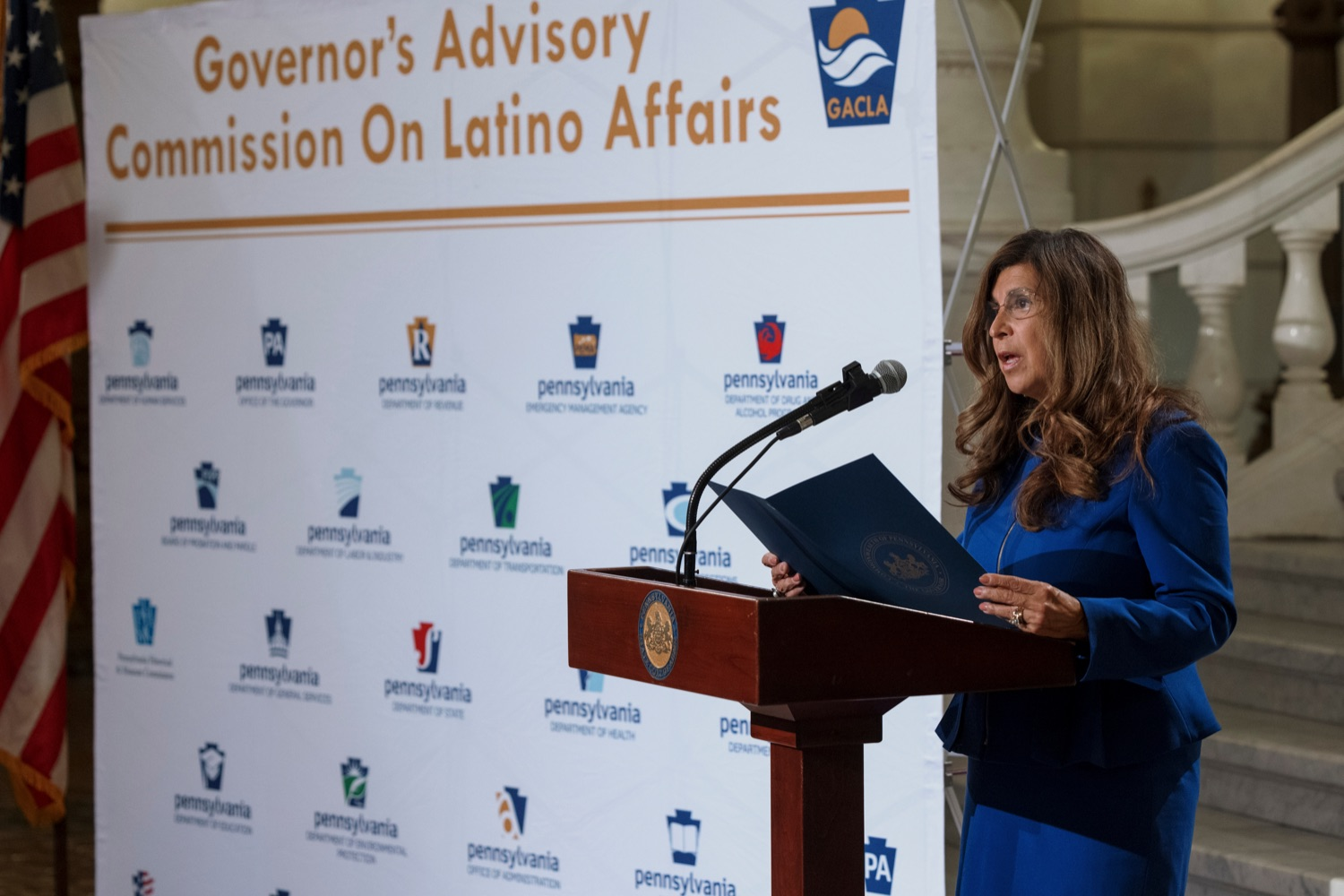 """<a href=""""https://filesource.wostreaming.net/commonwealthofpa/photo/19130_GACLA_HispanicHeritage_NK_008.jpg"""" target=""""_blank"""">⇣Download Photo<br></a>Governors Advisory Commission on Latino Affairs Commissioner Delma Lytle-Rivera speaks during a press conference to kick-off and recognize the start of Hispanic Heritage Month 2021 inside the capitol rotunda on Wednesday, September 15, 2021."""