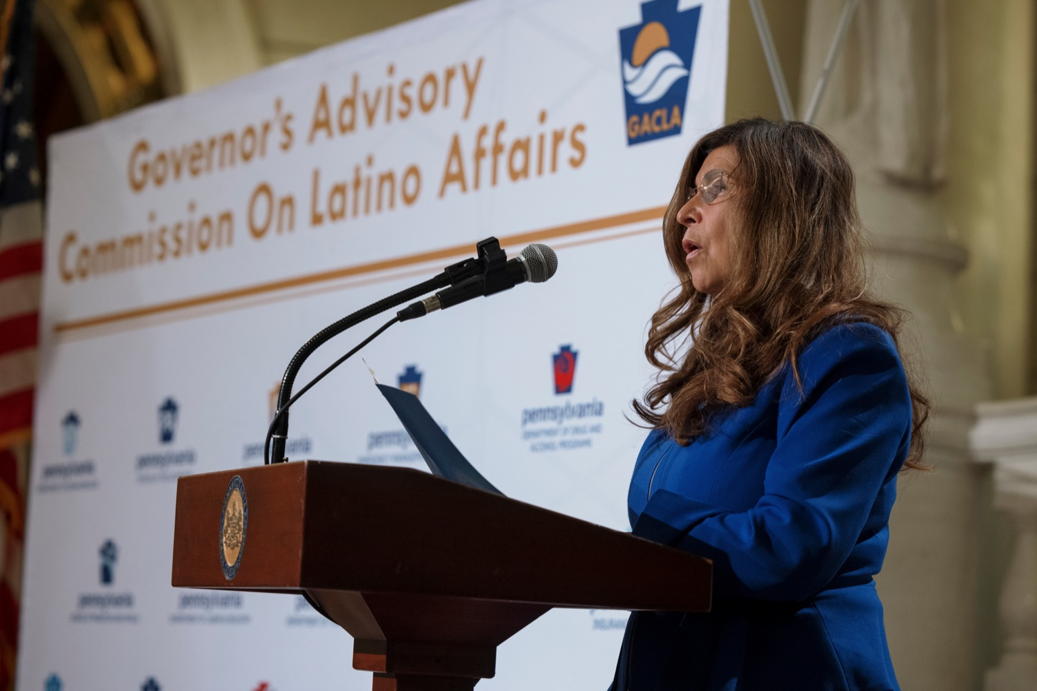 """<a href=""""https://filesource.wostreaming.net/commonwealthofpa/photo/19130_GACLA_HispanicHeritage_NK_013.jpg"""" target=""""_blank"""">⇣Download Photo<br></a>Governors Advisory Commission on Latino Affairs Commissioner Delma Lytle-Rivera speaks during a press conference to kick-off and recognize the start of Hispanic Heritage Month 2021 inside the capitol rotunda on Wednesday, September 15, 2021."""