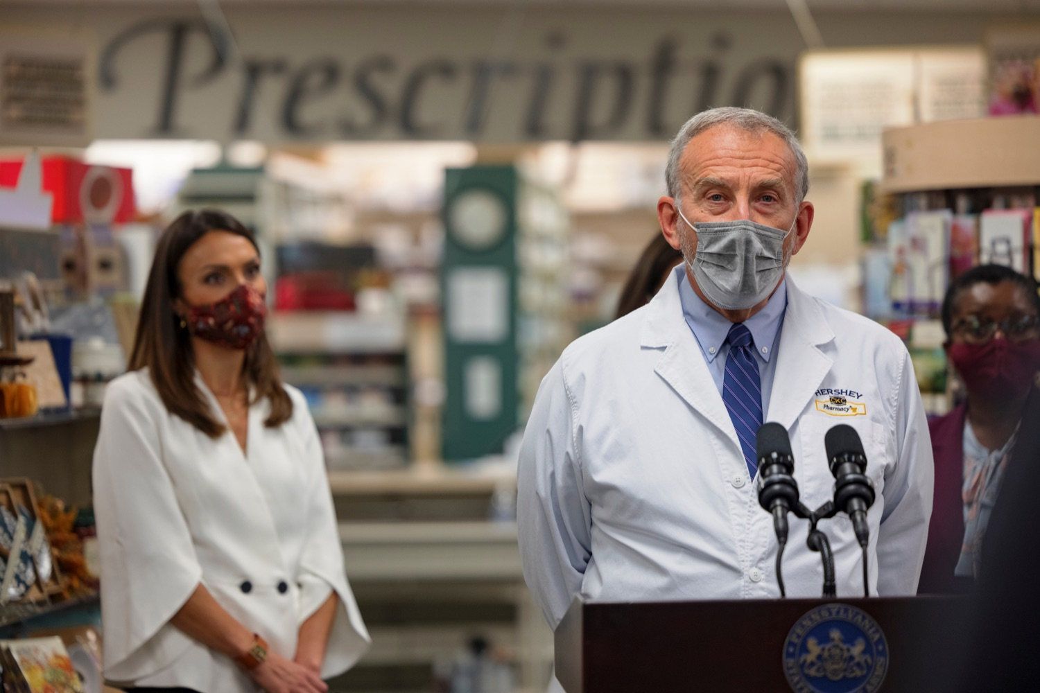 """<a href=""""https://filesource.wostreaming.net/commonwealthofpa/photo/19144_DOH_BoosterShots_NK_004.jpg"""" target=""""_blank"""">⇣Download Photo<br></a>Chuck Kray, pharmacist and owner of Hershey Pharmacy, speaks during a press conference, which discussed an order to ensure that vaccine providers are prepared to start COVID-19 booster shots as soon as the Centers for Disease Control and Prevention (CDC) issues the necessary federal guidance, in Hershey Pharmacy in Hershey on Tuesday, September 21, 2021. Pennsylvania is well prepared to start providing vaccine booster shots just as soon as the CDC provides the approval and guidelines on who can get it, Acting Secretary of Health Alison Beam said. Vaccine providers  especially pharmacies  have already done a tremendous job administering more than 12 million vaccines across the state. Now they are ready to get booster shots to people as quickly and efficiently as possible."""