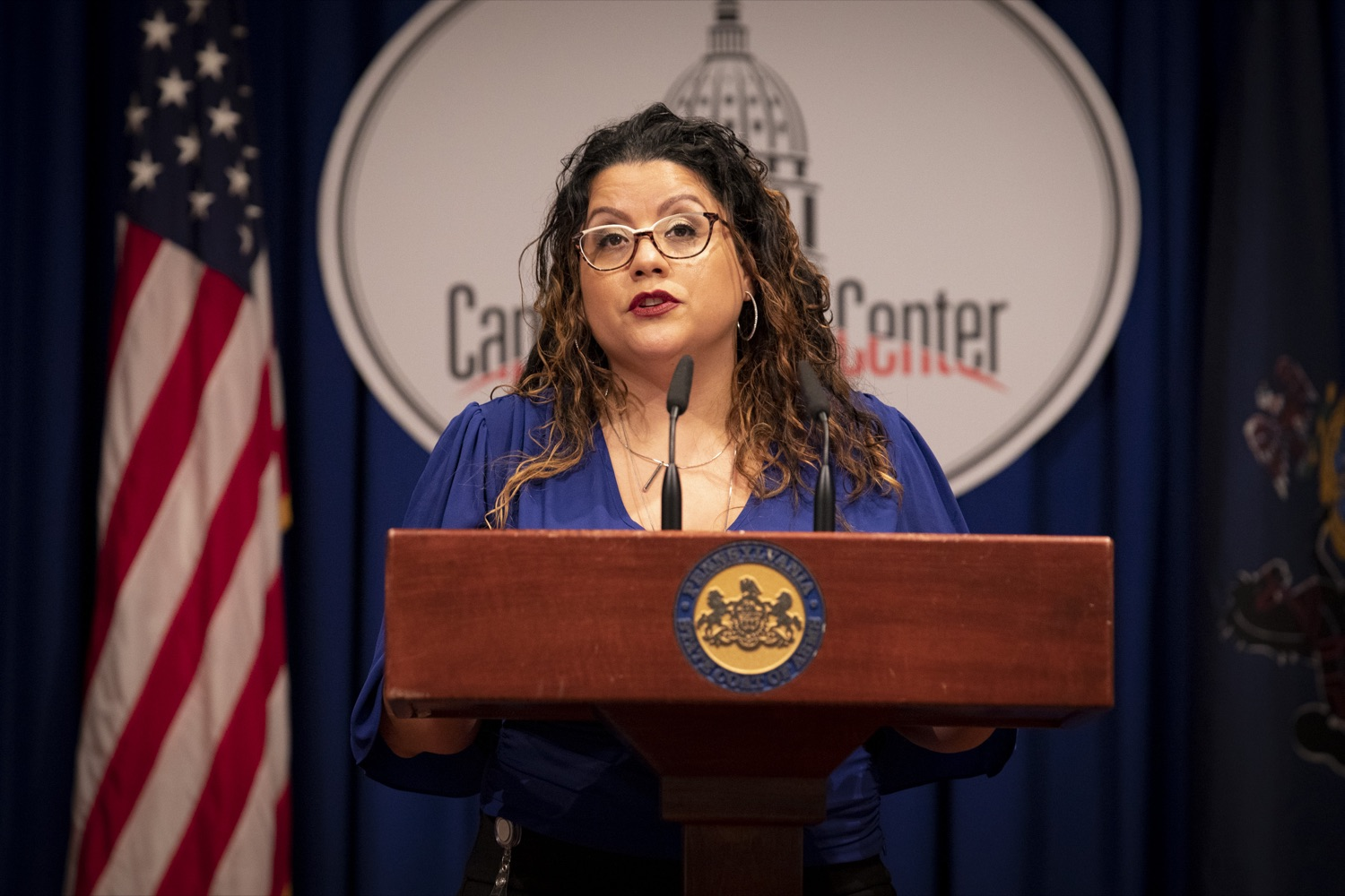 """<a href=""""https://filesource.wostreaming.net/commonwealthofpa/photo/20059_dhs_rentalAssistance_cz_07.jpg"""" target=""""_blank"""">⇣Download Photo<br></a>Luz Colon, Executive Director of the Pennsylvania Commission on Latino Affairs, promotes the Emergency Rental Assistance Program to non-English-speaking and immigrant communities, at the Harrisburg Capitol on September 16, 2021."""