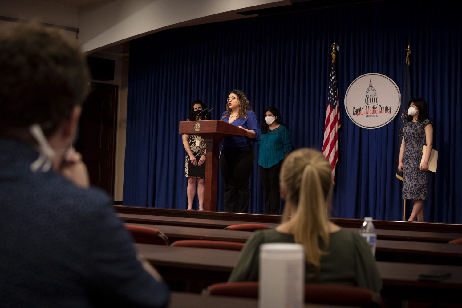 """<a href=""""https://filesource.wostreaming.net/commonwealthofpa/photo/20059_dhs_rentalAssistance_cz_08.jpg"""" target=""""_blank"""">⇣Download Photo<br></a>Luz Colon, Executive Director of the Pennsylvania Commission on Latino Affairs, promotes the Emergency Rental Assistance Program to non-English-speaking and immigrant communities, at the Harrisburg Capitol on September 16, 2021."""