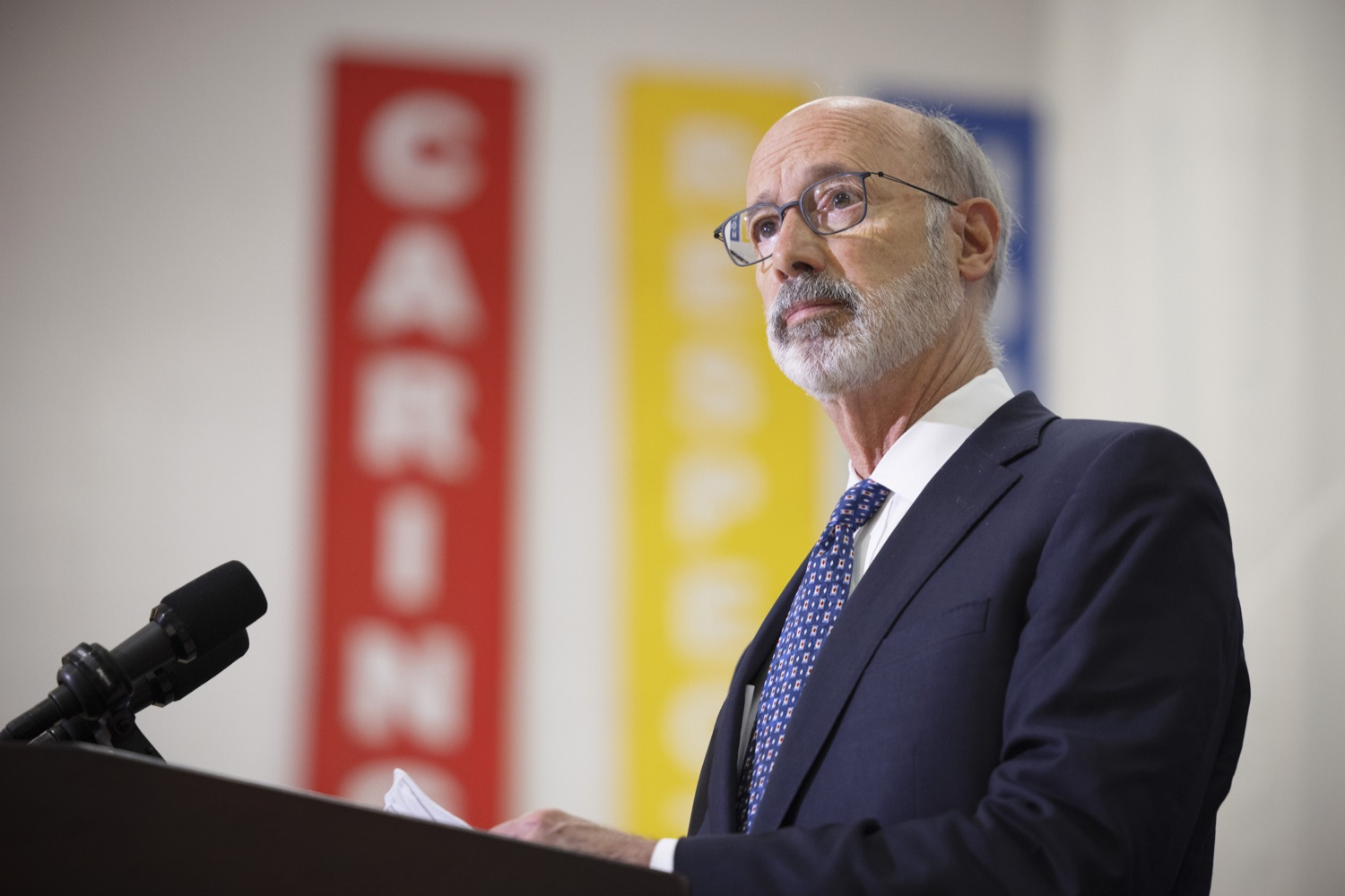 """<a href=""""https://filesource.wostreaming.net/commonwealthofpa/photo/20078_gov_gunviolence_dz_001.jpg"""" target=""""_blank"""">⇣Download Photo<br></a>Pennsylvania Governor Tom Wolf speaking with the press.  Governor Tom Wolf today joined state lawmakers to remind communities and organizations that $24 million in state funding is available to address community violence.  Philadelphia, PA - September 23, 2021"""