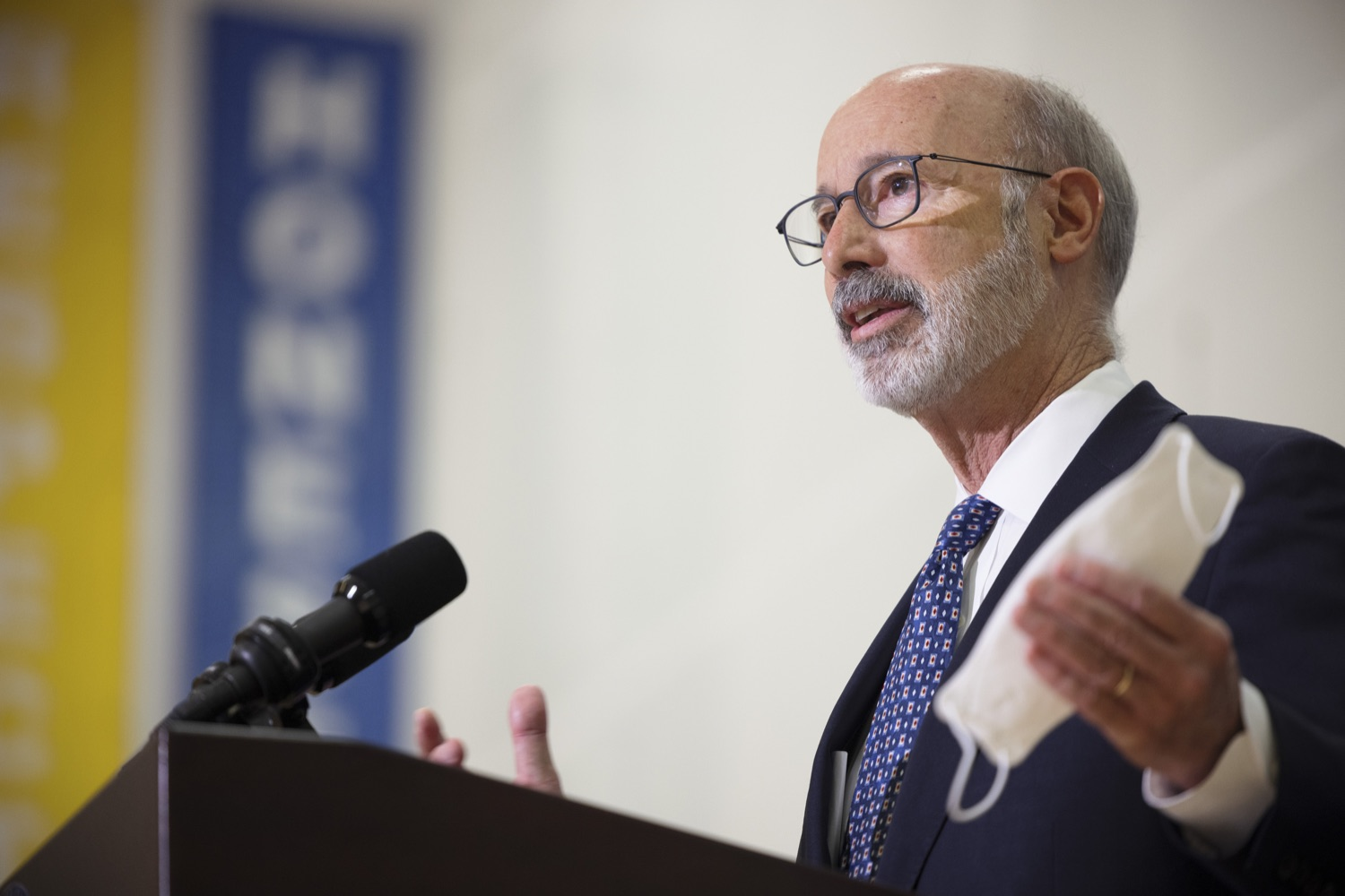 """<a href=""""https://filesource.wostreaming.net/commonwealthofpa/photo/20078_gov_gunviolence_dz_006.jpg"""" target=""""_blank"""">⇣Download Photo<br></a>Pennsylvania Governor Tom Wolf speaking with the press.  Governor Tom Wolf today joined state lawmakers to remind communities and organizations that $24 million in state funding is available to address community violence.  Philadelphia, PA - September 23, 2021"""