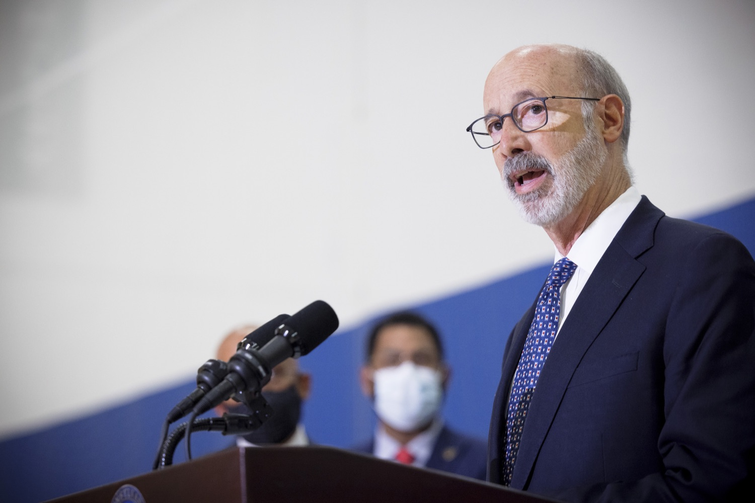 """<a href=""""https://filesource.wostreaming.net/commonwealthofpa/photo/20078_gov_gunviolence_dz_014.jpg"""" target=""""_blank"""">⇣Download Photo<br></a>Pennsylvania Governor Tom Wolf speaking with the press.  Governor Tom Wolf today joined state lawmakers to remind communities and organizations that $24 million in state funding is available to address community violence.  Philadelphia, PA - September 23, 2021"""