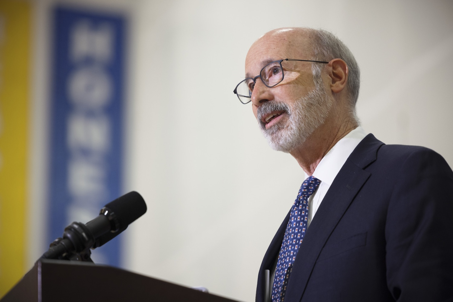 """<a href=""""https://filesource.wostreaming.net/commonwealthofpa/photo/20078_gov_gunviolence_dz_018.jpg"""" target=""""_blank"""">⇣Download Photo<br></a>Pennsylvania Governor Tom Wolf speaking with the press.  Governor Tom Wolf today joined state lawmakers to remind communities and organizations that $24 million in state funding is available to address community violence.  Philadelphia, PA - September 23, 2021"""