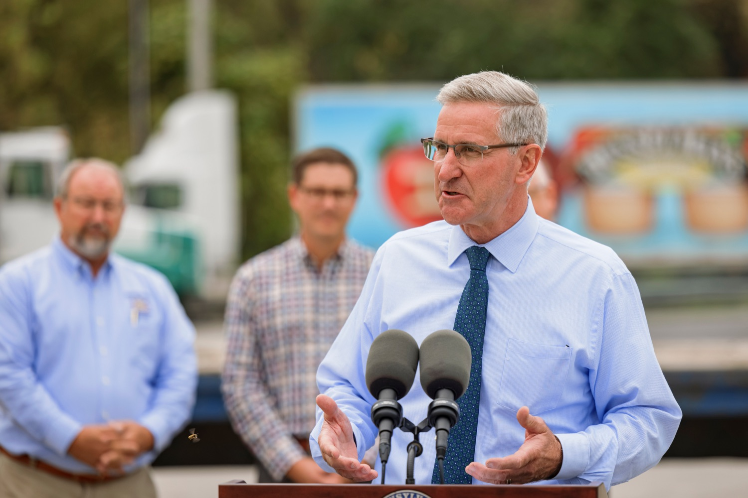 """<a href=""""https://filesource.wostreaming.net/commonwealthofpa/photo/20111_AGRIC_Food_Fuels_NK_001.JPG"""" target=""""_blank"""">⇣Download Photo<br></a>Agriculture Secretary Russell Redding speaks during a press conference, which highlighted Pennsylvanias agriculture and food manufacturing industry at Knouse Foods, kicking off the Food that Fuels Pennsylvania tour, a plan to spotlight the commonwealths agriculture and food manufacturing industry and its workforce, on Wednesday, October 13, 2021."""