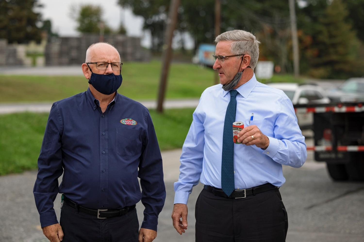 """<a href=""""https://filesource.wostreaming.net/commonwealthofpa/photo/20111_AGRIC_Food_Fuels_NK_010.JPG"""" target=""""_blank"""">⇣Download Photo<br></a>Larry Martin, CEO of Knouse Foods, left, talks with Agriculture Secretary Russell Redding during a press conference, which highlighted Pennsylvanias agriculture and food manufacturing industry at Knouse Foods, kicking off the Food that Fuels Pennsylvania tour, a plan to spotlight the commonwealths agriculture and food manufacturing industry and its workforce, on Wednesday, October 13, 2021."""