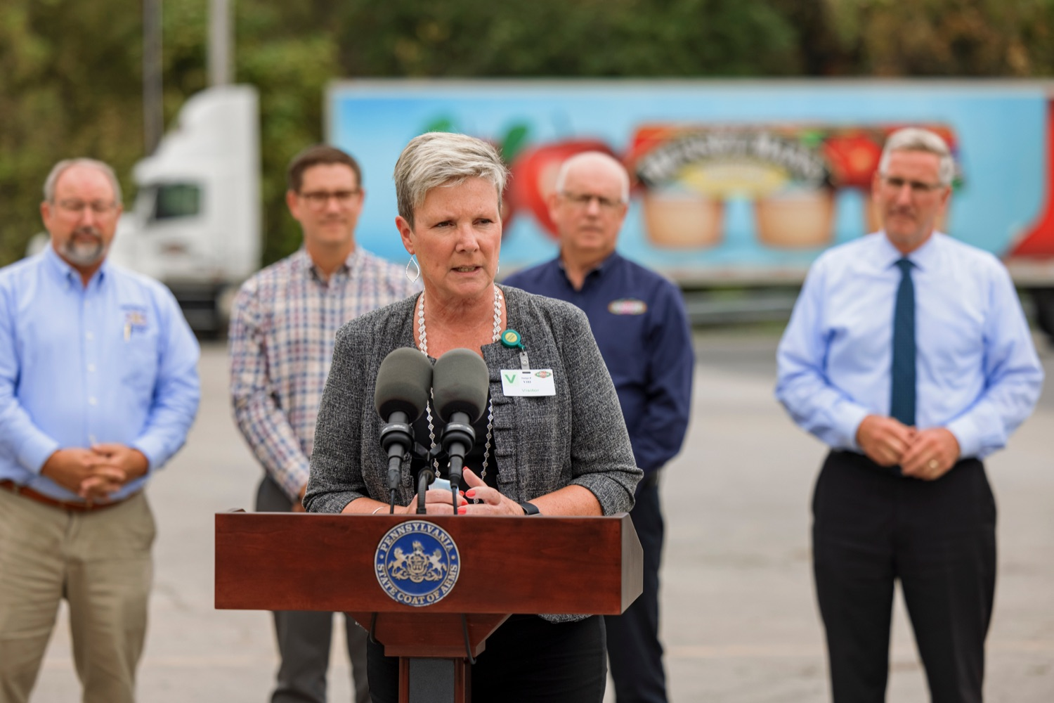 """<a href=""""https://filesource.wostreaming.net/commonwealthofpa/photo/20111_AGRIC_Food_Fuels_NK_016.JPG"""" target=""""_blank"""">⇣Download Photo<br></a>Department of Community and Economic Development Deputy Secretary Carol Kilko speaks during a press conference, which highlighted Pennsylvanias agriculture and food manufacturing industry at Knouse Foods, kicking off the Food that Fuels Pennsylvania tour, a plan to spotlight the commonwealths agriculture and food manufacturing industry and its workforce, on Wednesday, October 13, 2021."""