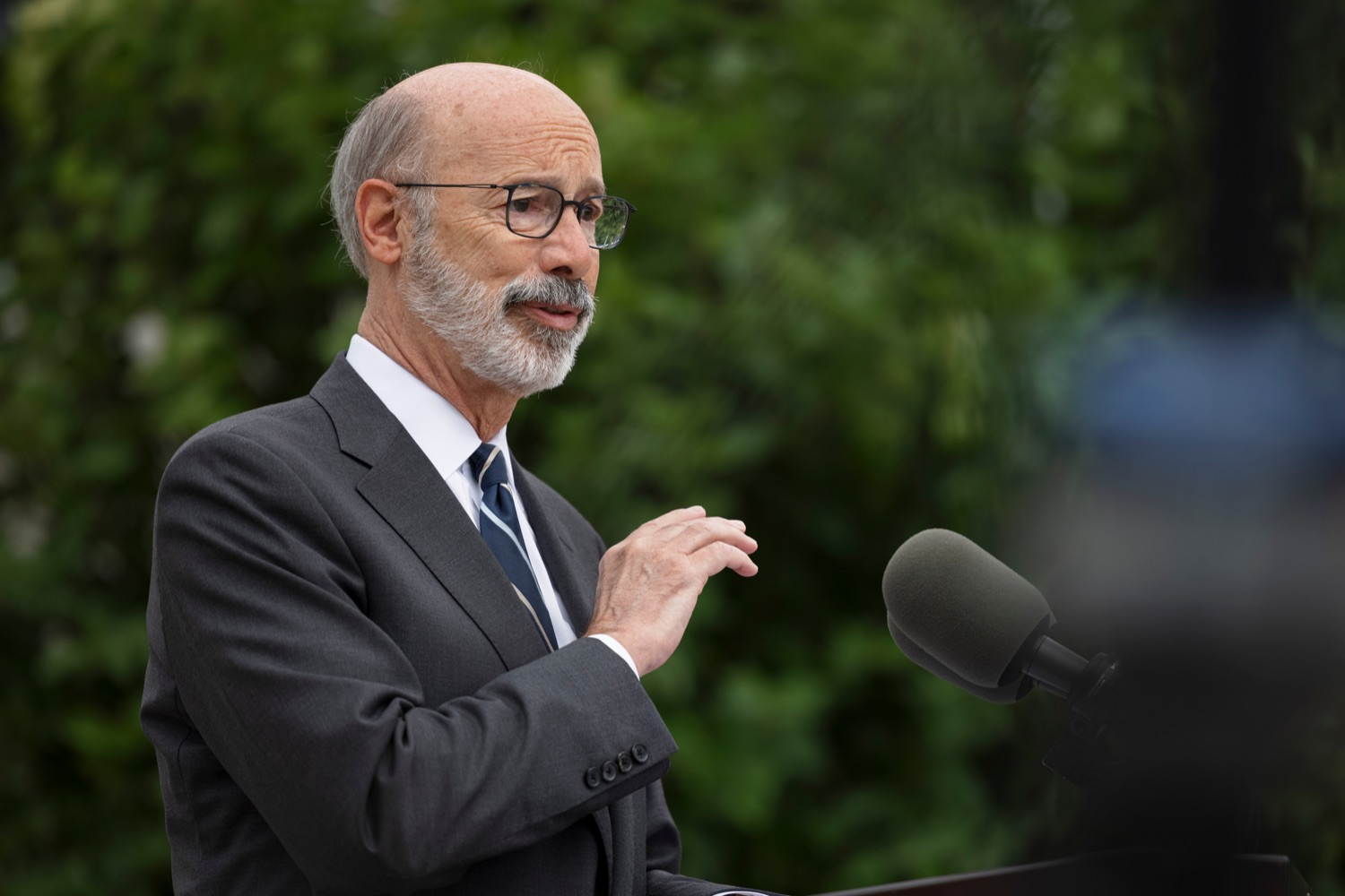 """<a href=""""https://filesource.wostreaming.net/commonwealthofpa/photo/20119_GOV_Vaccines_NK_002.jpg"""" target=""""_blank"""">⇣Download Photo<br></a>PA Governor Tom Wolf speaks during a press conference, which encouraged eligible Pennsylvanians who are not yet vaccinated to take advantage of their upcoming community COVID-19 vaccine clinic in partnership with the Zeta Theta Lambda Chapter of Alpha Phi Alpha fraternity, outside Hamilton Health Center in Harrisburg on Wednesday, October 6, 2021. The clinic will run on Saturday, October 9, COVID-19 vaccinations will be offered from 10am  2pm at Hamilton Health Center, 100 S. 17th St., Harrisburg, PA 17104."""