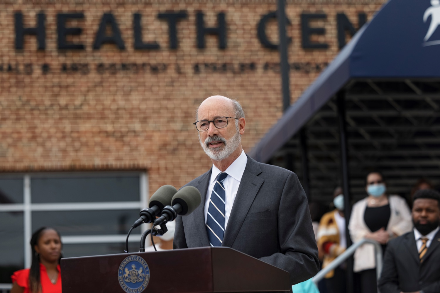 """<a href=""""https://filesource.wostreaming.net/commonwealthofpa/photo/20119_GOV_Vaccines_NK_012.jpg"""" target=""""_blank"""">⇣Download Photo<br></a>PA Governor Tom Wolf speaks during a press conference, which encouraged eligible Pennsylvanians who are not yet vaccinated to take advantage of their upcoming community COVID-19 vaccine clinic in partnership with the Zeta Theta Lambda Chapter of Alpha Phi Alpha fraternity, outside Hamilton Health Center in Harrisburg on Wednesday, October 6, 2021. The clinic will run on Saturday, October 9, COVID-19 vaccinations will be offered from 10am  2pm at Hamilton Health Center, 100 S. 17th St., Harrisburg, PA 17104."""