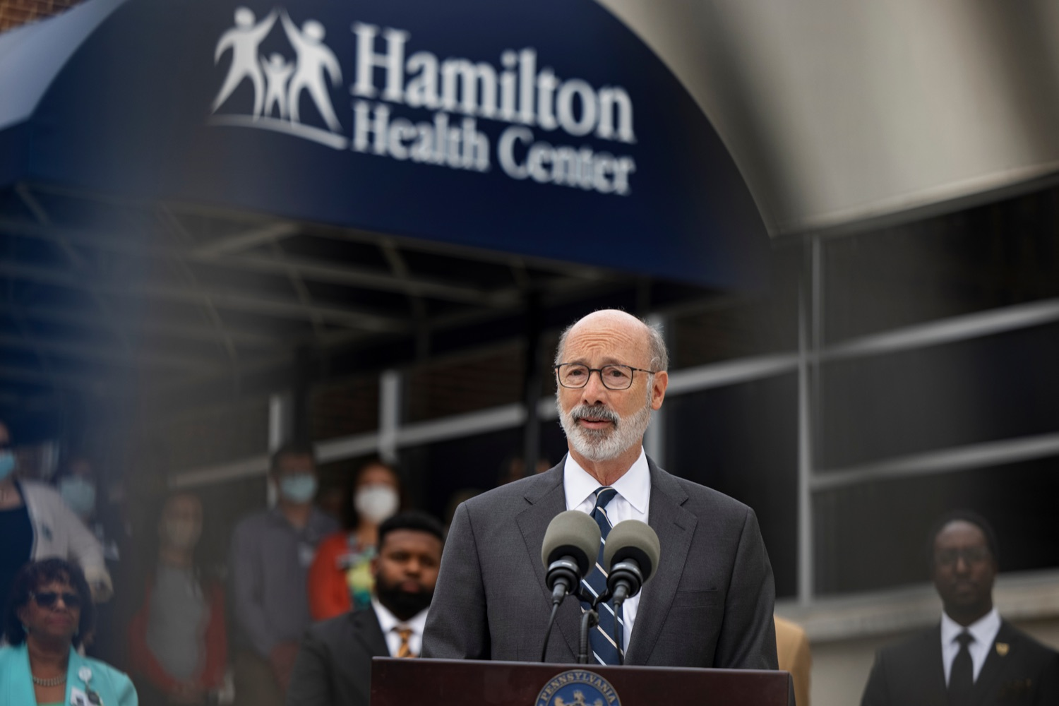 """<a href=""""https://filesource.wostreaming.net/commonwealthofpa/photo/20119_GOV_Vaccines_NK_013.jpg"""" target=""""_blank"""">⇣Download Photo<br></a>PA Governor Tom Wolf speaks during a press conference, which encouraged eligible Pennsylvanians who are not yet vaccinated to take advantage of their upcoming community COVID-19 vaccine clinic in partnership with the Zeta Theta Lambda Chapter of Alpha Phi Alpha fraternity, outside Hamilton Health Center in Harrisburg on Wednesday, October 6, 2021. The clinic will run on Saturday, October 9, COVID-19 vaccinations will be offered from 10am  2pm at Hamilton Health Center, 100 S. 17th St., Harrisburg, PA 17104."""