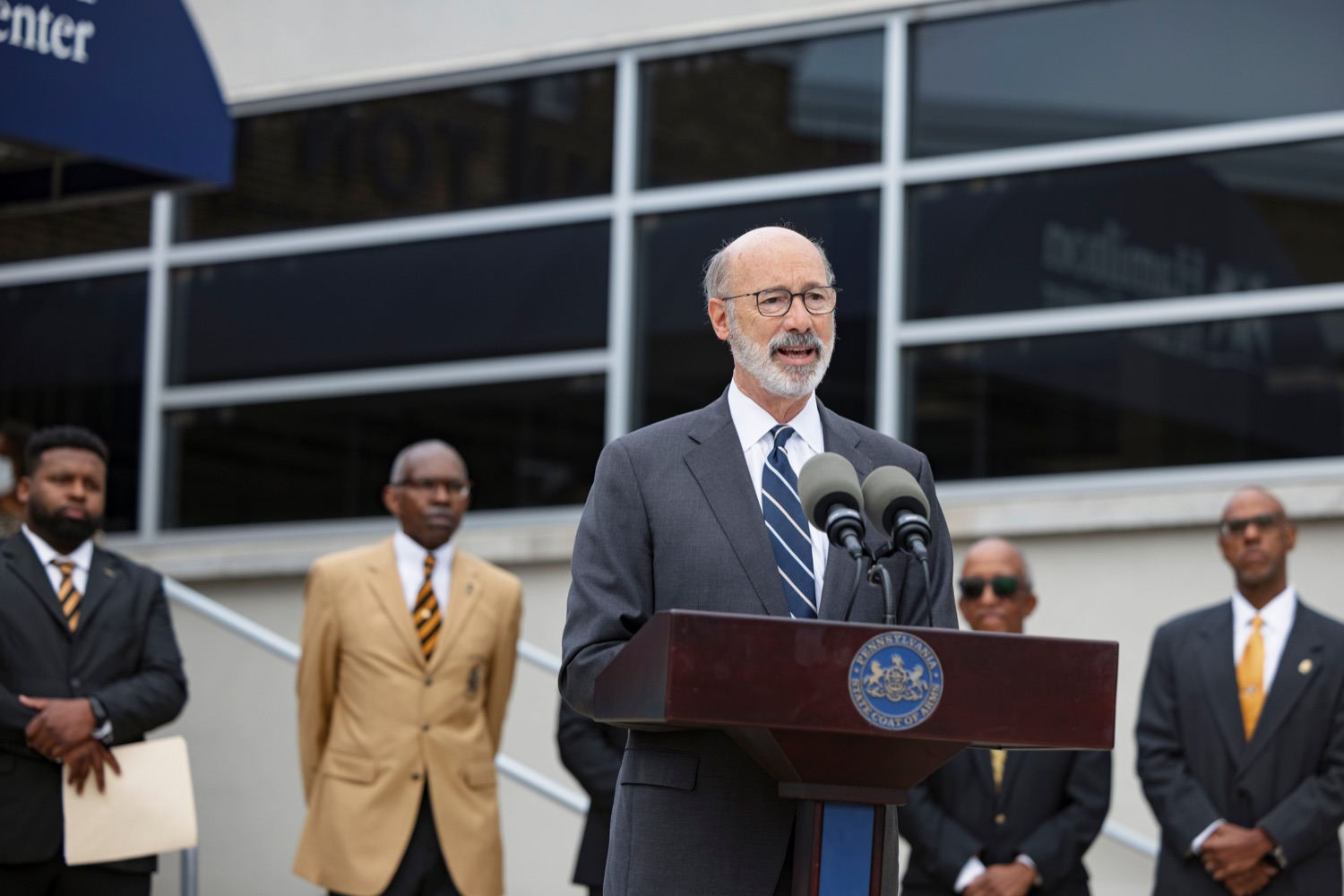 """<a href=""""https://filesource.wostreaming.net/commonwealthofpa/photo/20119_GOV_Vaccines_NK_016.jpg"""" target=""""_blank"""">⇣Download Photo<br></a>PA Governor Tom Wolf speaks during a press conference, which encouraged eligible Pennsylvanians who are not yet vaccinated to take advantage of their upcoming community COVID-19 vaccine clinic in partnership with the Zeta Theta Lambda Chapter of Alpha Phi Alpha fraternity, outside Hamilton Health Center in Harrisburg on Wednesday, October 6, 2021. The clinic will run on Saturday, October 9, COVID-19 vaccinations will be offered from 10am  2pm at Hamilton Health Center, 100 S. 17th St., Harrisburg, PA 17104."""