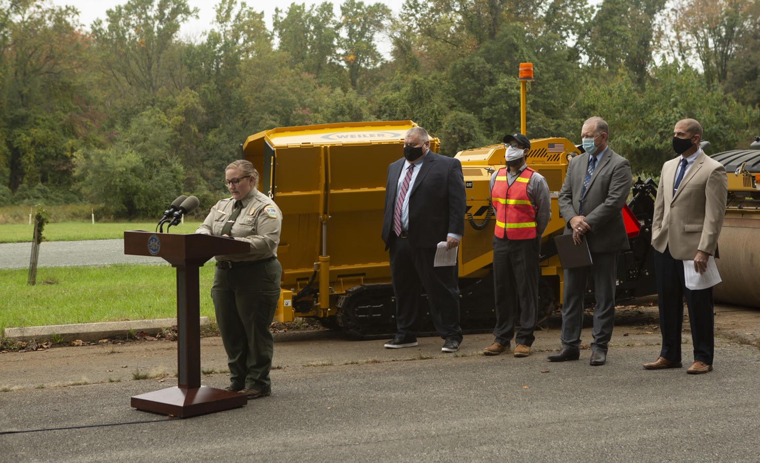 """<a href=""""https://filesource.wostreaming.net/commonwealthofpa/photo/20121_pdot_recycledRoadway_8.JPG"""" target=""""_blank"""">⇣Download Photo<br></a>Wolf Administration Highlights Collaborative Pilot to Pave Roadway with Recycled Plastic"""