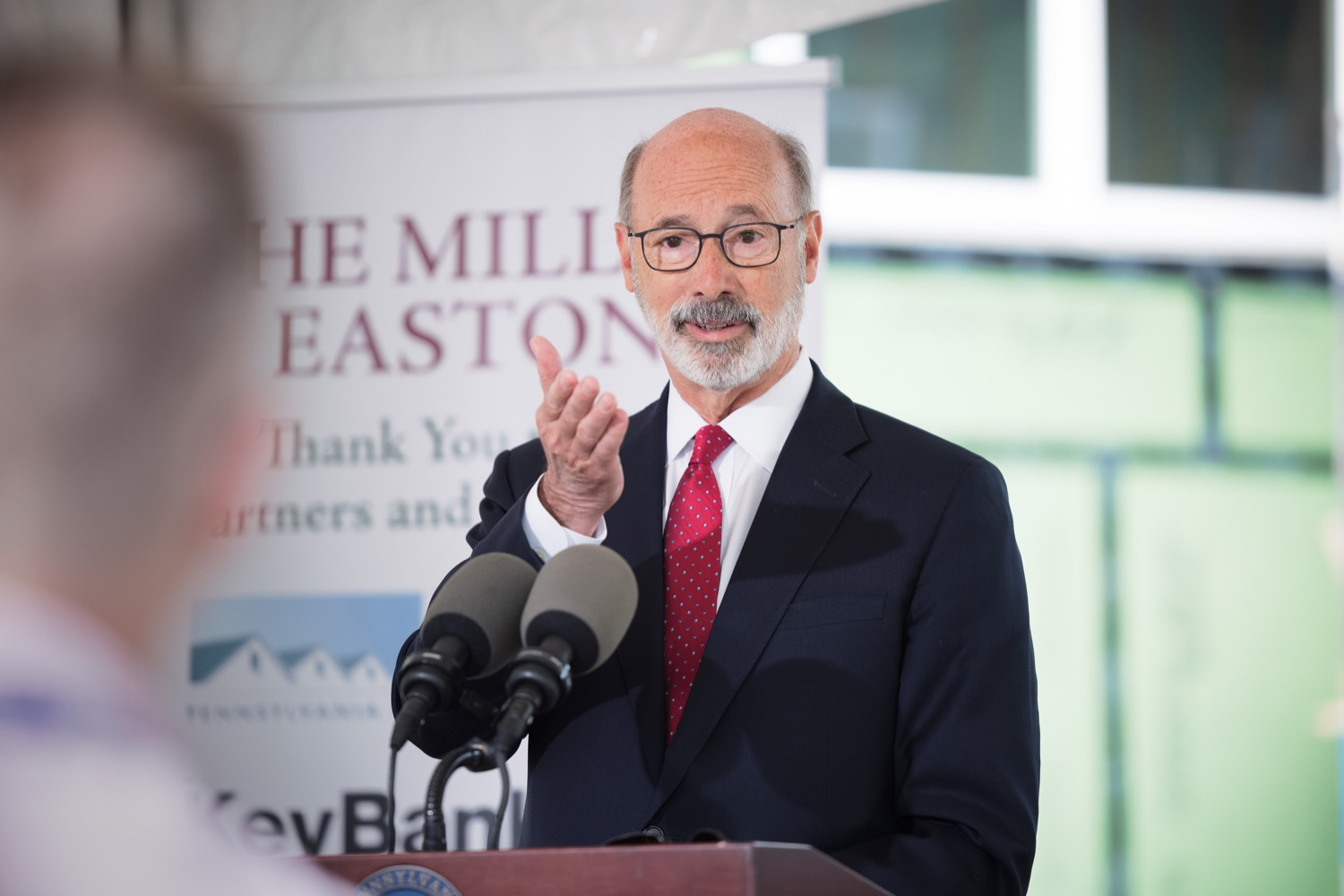 """<a href=""""https://filesource.wostreaming.net/commonwealthofpa/photo/20125_gov_economicDevelopment_dz_010.jpg"""" target=""""_blank"""">⇣Download Photo<br></a>Pennsylvania Governor Tom Wolf speaking with the press.  Governor Tom Wolf today visited the City of Easton to highlight millions of dollars in state investments in several economic development projects that are revitalizing formerly vacant and blighted properties.  Easton, PA   October 8, 2021."""