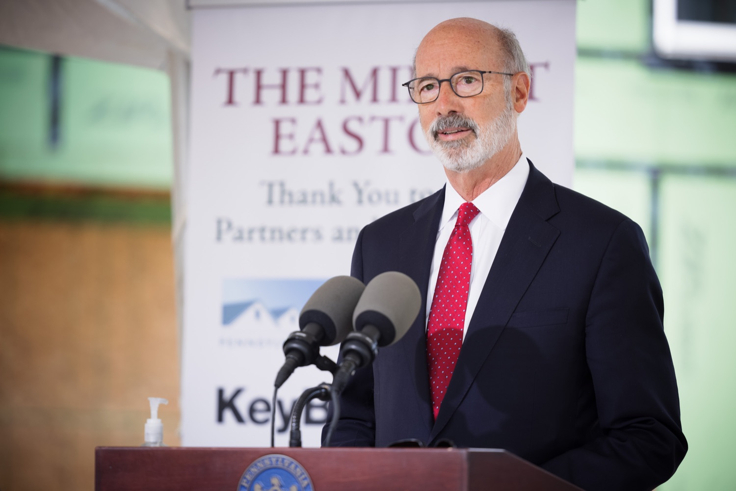 """<a href=""""https://filesource.wostreaming.net/commonwealthofpa/photo/20125_gov_economicDevelopment_dz_016.jpg"""" target=""""_blank"""">⇣Download Photo<br></a>Pennsylvania Governor Tom Wolf speaking with the press.  Governor Tom Wolf today visited the City of Easton to highlight millions of dollars in state investments in several economic development projects that are revitalizing formerly vacant and blighted properties.  Easton, PA   October 8, 2021."""