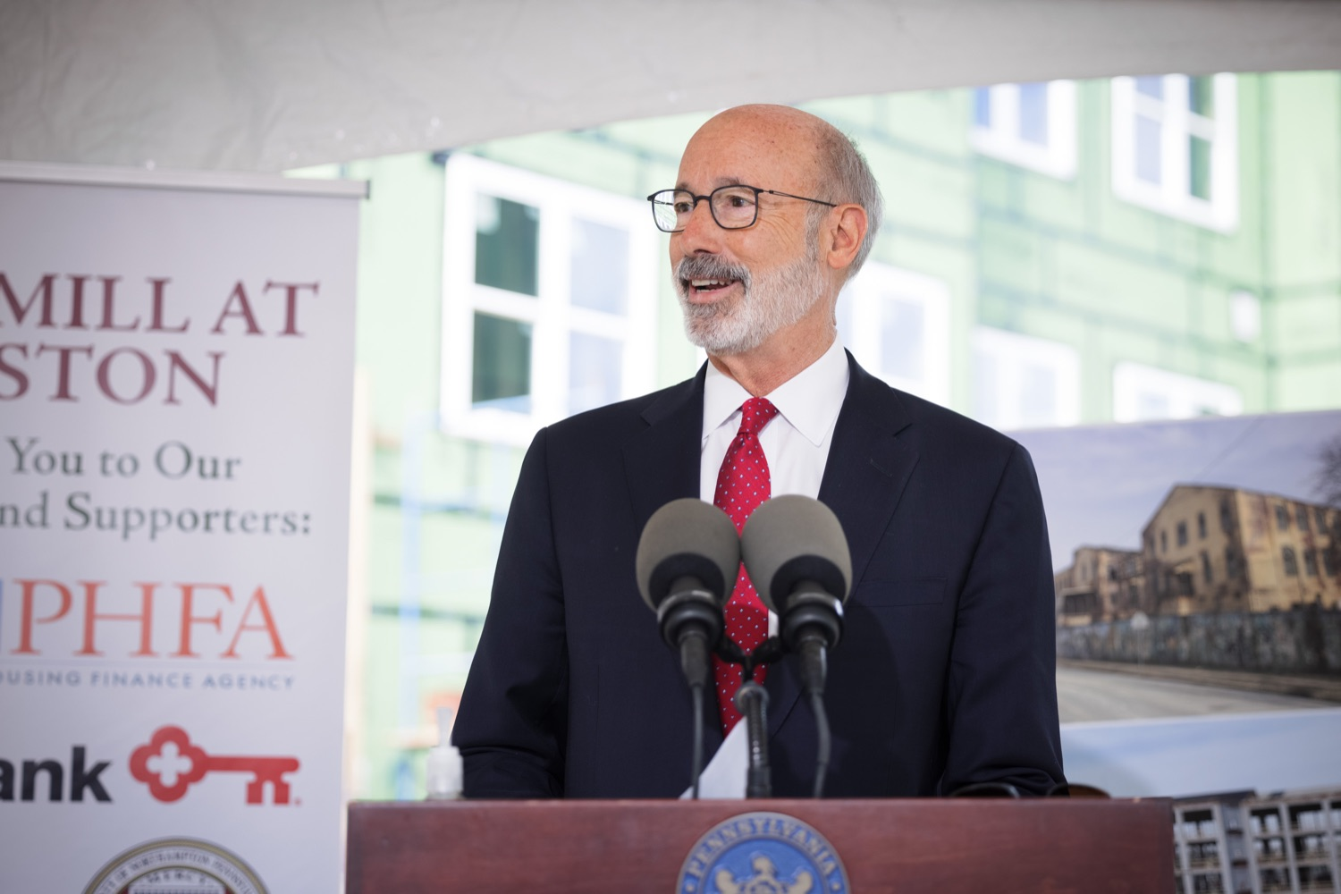 """<a href=""""https://filesource.wostreaming.net/commonwealthofpa/photo/20125_gov_economicDevelopment_dz_019.jpg"""" target=""""_blank"""">⇣Download Photo<br></a>Pennsylvania Governor Tom Wolf speaking with the press.   Governor Tom Wolf today visited the City of Easton to highlight millions of dollars in state investments in several economic development projects that are revitalizing formerly vacant and blighted properties.  Easton, PA   October 8, 2021."""