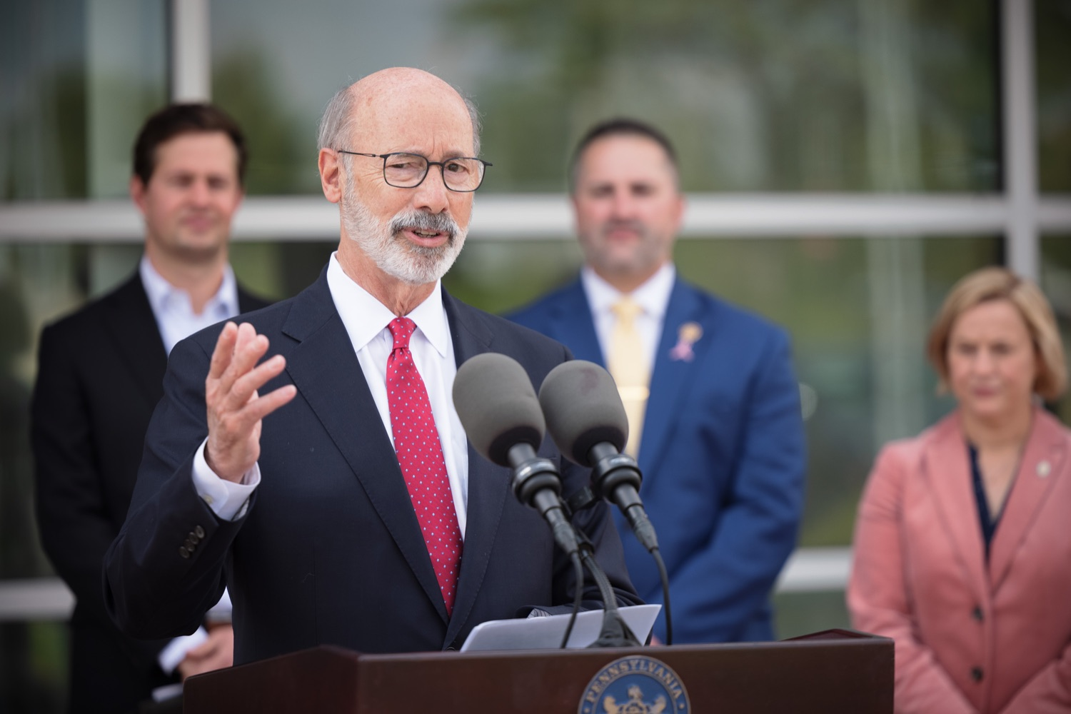 """<a href=""""https://filesource.wostreaming.net/commonwealthofpa/photo/20126_gov_economicDevelopment_dz_006.jpg"""" target=""""_blank"""">⇣Download Photo<br></a>Pennsylvania Governor Tom Wolf speaking with the press.  Governor Tom Wolf joined Clemens Food Group leaders, Agriculture Secretary Russell Redding, Sen. Maria Collett, Rep. Steve Malagari and members of the Governors Action Team today to tour the construction of the companys new facility in Montgomery County. The Wolf Administration supported the project which will expand the business operations and create new jobs in the region. Hatfield, PA   October 8, 2021"""