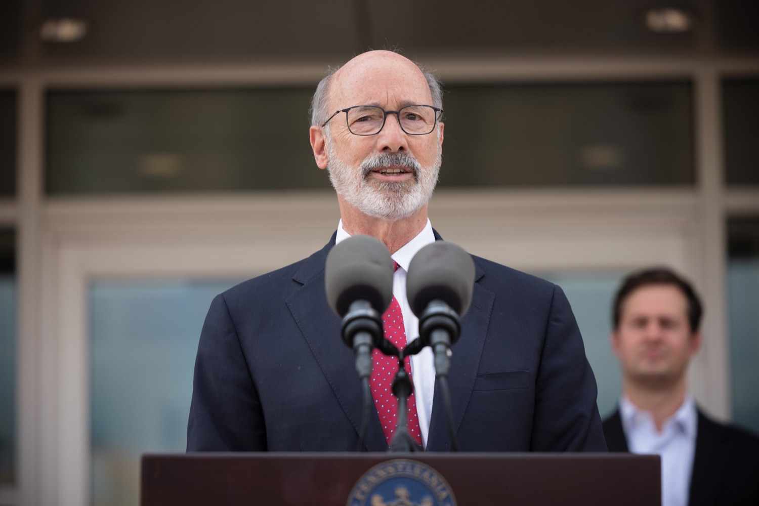 """<a href=""""https://filesource.wostreaming.net/commonwealthofpa/photo/20126_gov_economicDevelopment_dz_020.jpg"""" target=""""_blank"""">⇣Download Photo<br></a>Pennsylvania Governor Tom Wolf speaking with the press.  Governor Tom Wolf joined Clemens Food Group leaders, Agriculture Secretary Russell Redding, Sen. Maria Collett, Rep. Steve Malagari and members of the Governors Action Team today to tour the construction of the companys new facility in Montgomery County. The Wolf Administration supported the project which will expand the business operations and create new jobs in the region. Hatfield, PA   October 8, 2021"""