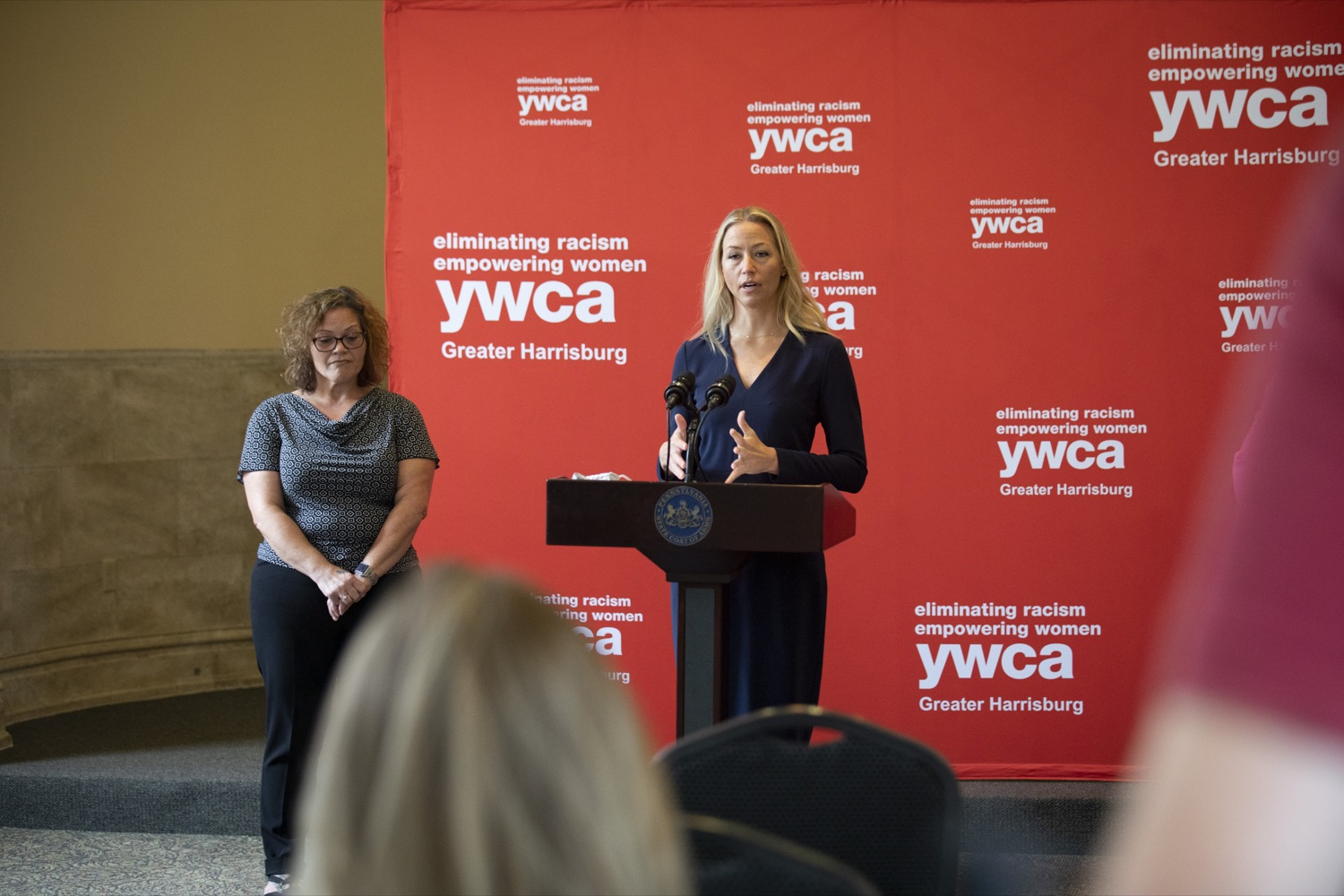"""<a href=""""https://filesource.wostreaming.net/commonwealthofpa/photo/20132_ddap_ywca_cz_14.jpg"""" target=""""_blank"""">⇣Download Photo<br></a>Mary Quinn, YWCA President and CEO, discusses the mission of the YWCA, highlighting how the non-profit is building relationships between employers and individuals in recovery, in Harrisburg, PA on October 13, 2021."""