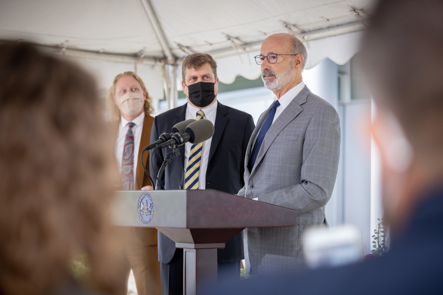 """<a href=""""https://filesource.wostreaming.net/commonwealthofpa/photo/20138_gov_BioTechniqueRibbon_dz_004.JPG"""" target=""""_blank"""">⇣Download Photo<br></a>Pennsylvania Governor Tom Wolf speaking with the press.  Governor Tom Wolf today joined BioTechnique CEO John Clapham, the Department of Community and Economic Developments (DCED) Governors Action Team (GAT), York County Economic Alliance CEO Kevin Schreiber, and local officials at the ribbon cutting ceremony for BioTechniques new pharmaceutical manufacturing facility in York County.   OCTOBER 12, 2021 - YORK, PA"""